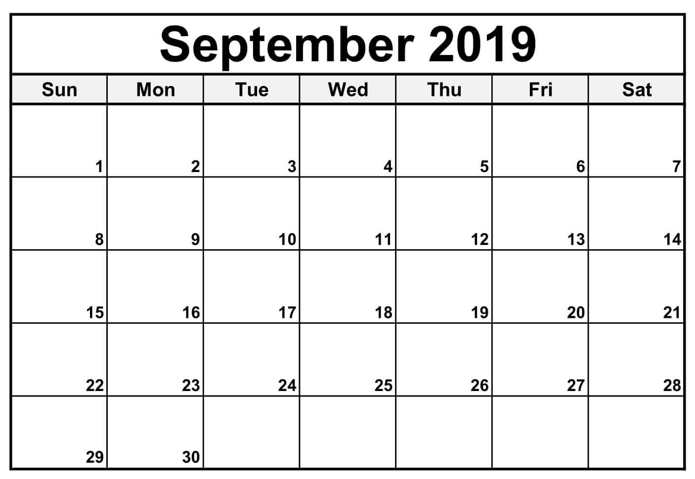 September 2019 Printable Calendar Blank Templates Calendar