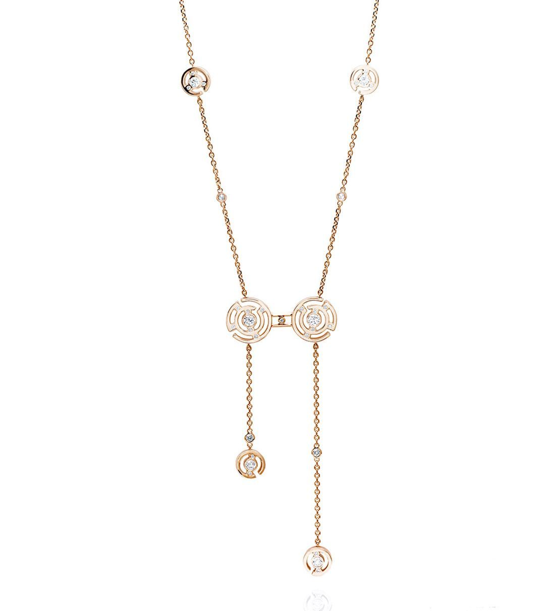 An elegant rose gold diamond necklace from the boodles maze