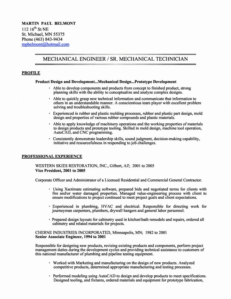 Mechanical Engineer Resume Sample Luxury Mechanical