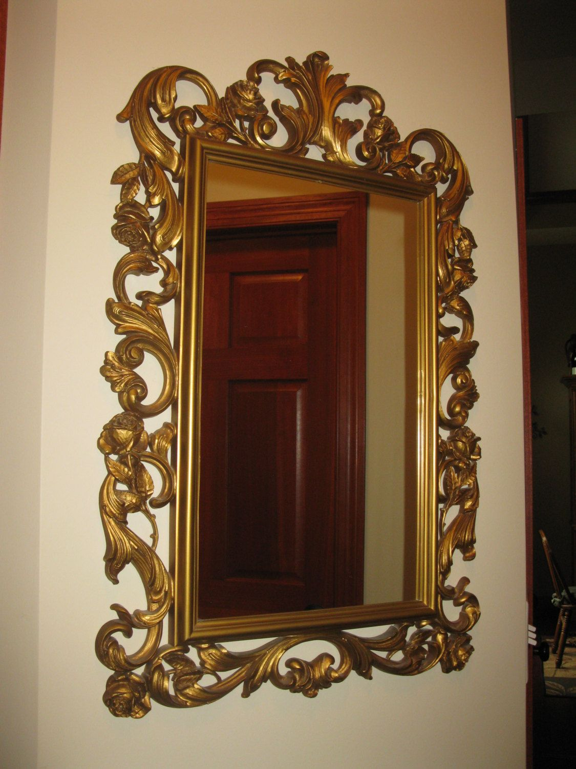 Ornate Homco Wall Mirror Large Gold Plastic Resin Framed 29 1 2 Quot X 19 1 2 Quot 1977 Dart Inc Hollywood Re Mirror Wall Mirror Rectangular Mirror [ 1500 x 1125 Pixel ]