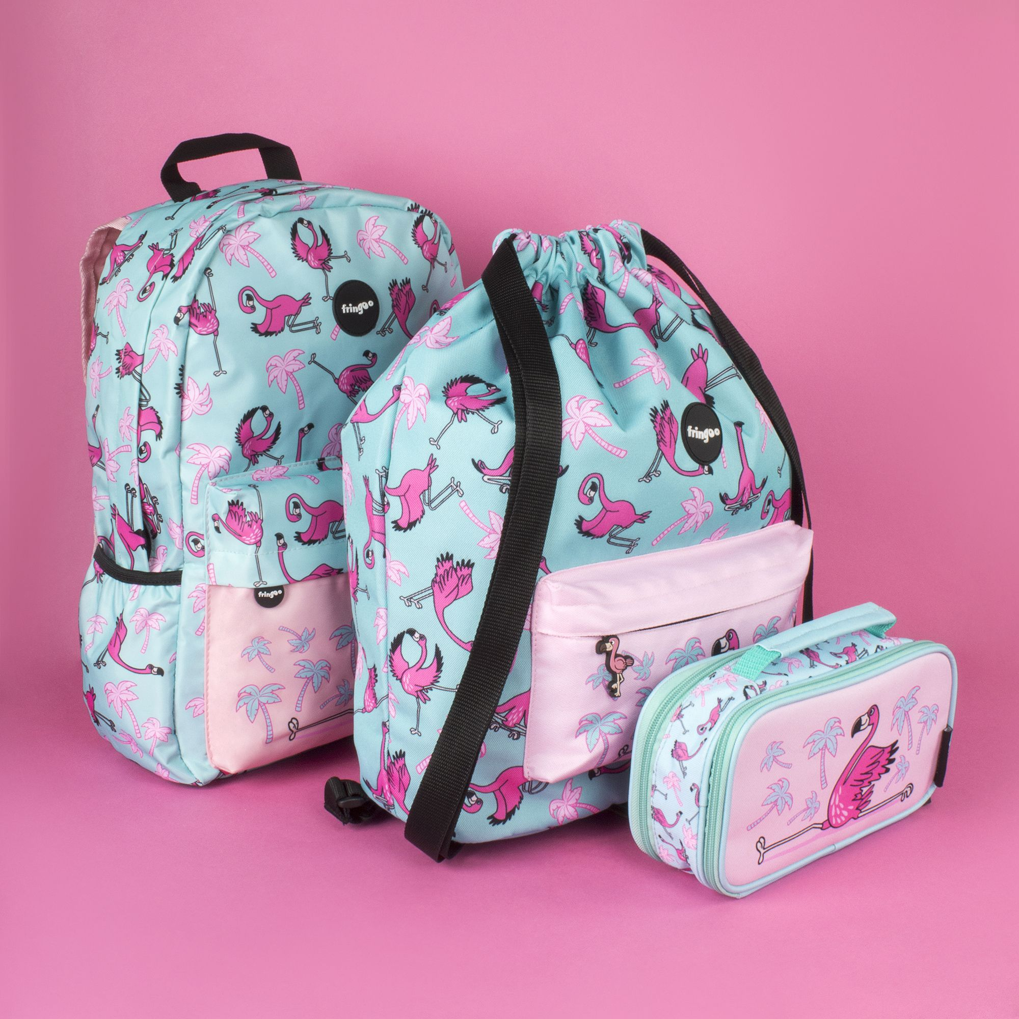 a9a79d68b63b It is all about Fringoo flamingo matching sets. Our waterproof kids  backpacks