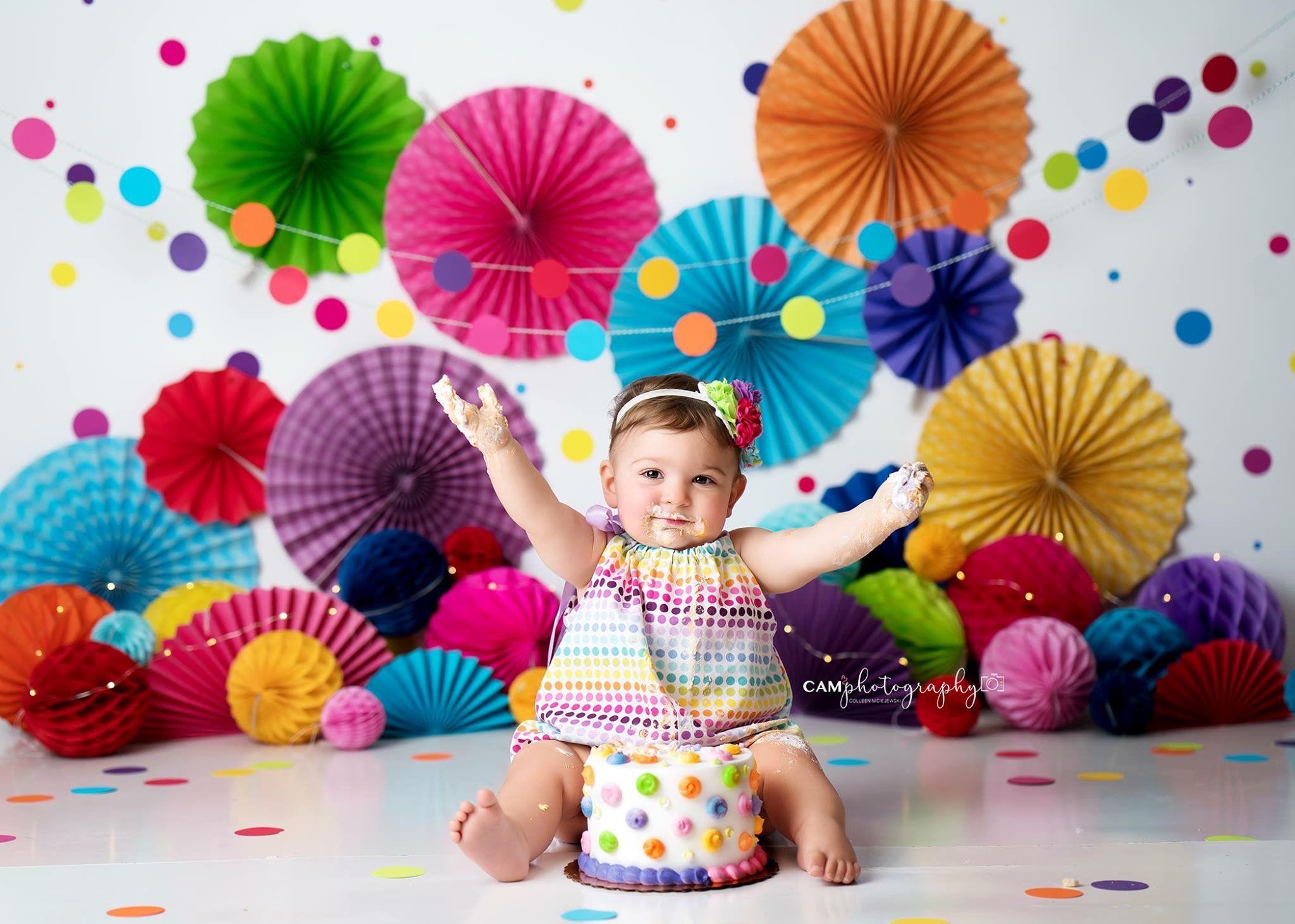 Bright Rainbow Colorful Cake Smash Polkadots Rainbow Bright Cakesmash Photography 1st Birthday Decorations Smash Cake Girl Candy Land Birthday Party