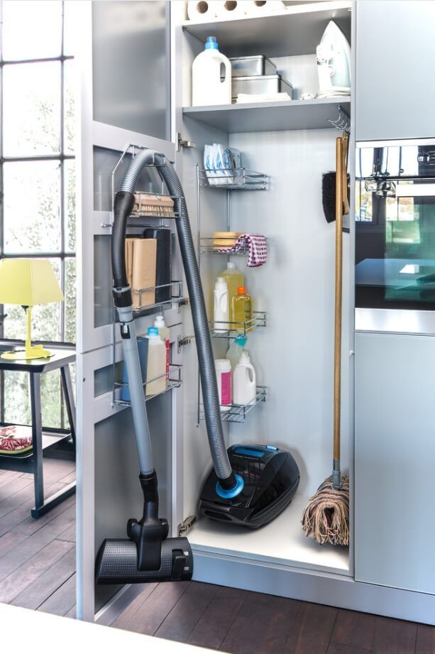 Rambling Renovators Pretty Broom Closet Broom Closet Organizer Cleaning Closet Utility Closet