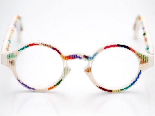 Applications for rapid prototyping in fashion abound but few are as charming as Chloë McCormick and Nicholas O'Donnell-Hoare's tapestry eyeglasses, which combine the magic of three-dimensional printing with traditional needlework. Laser-sintered from nylon powder, the frame includes a grid of holes for weaving thread in and out of—perfect for personalizing with a pattern of your making (we need DIY kits, stat!)