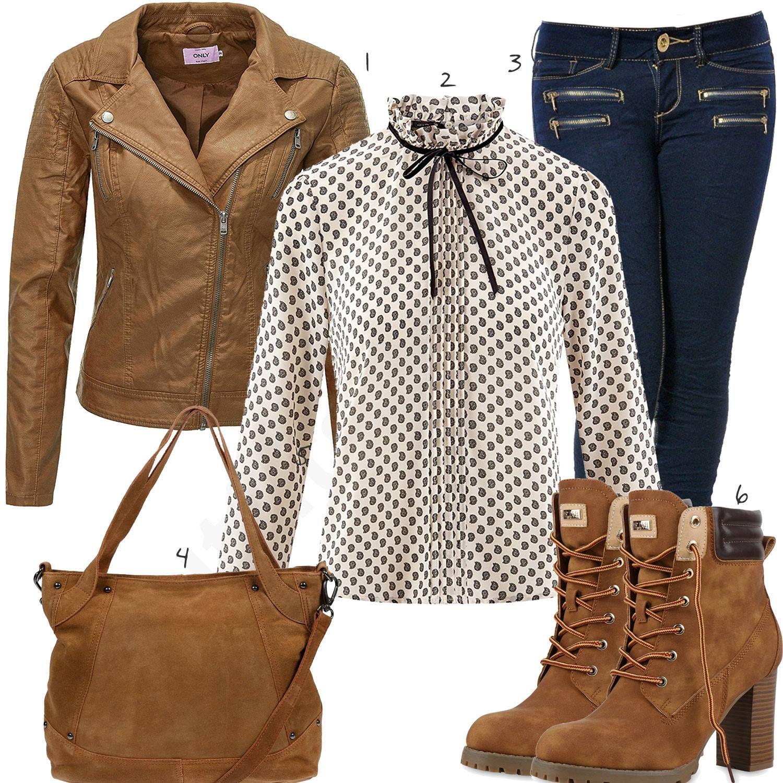 Brauner Damenoutfit Lederjacke Und Stiefeln Elegantes Mit H9IWED2