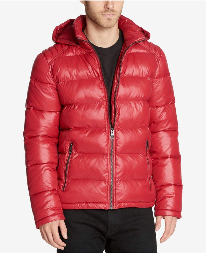 Guess Men S Hooded Puffer Coat With Images Guess Men Mens Hooded Puffer Coat