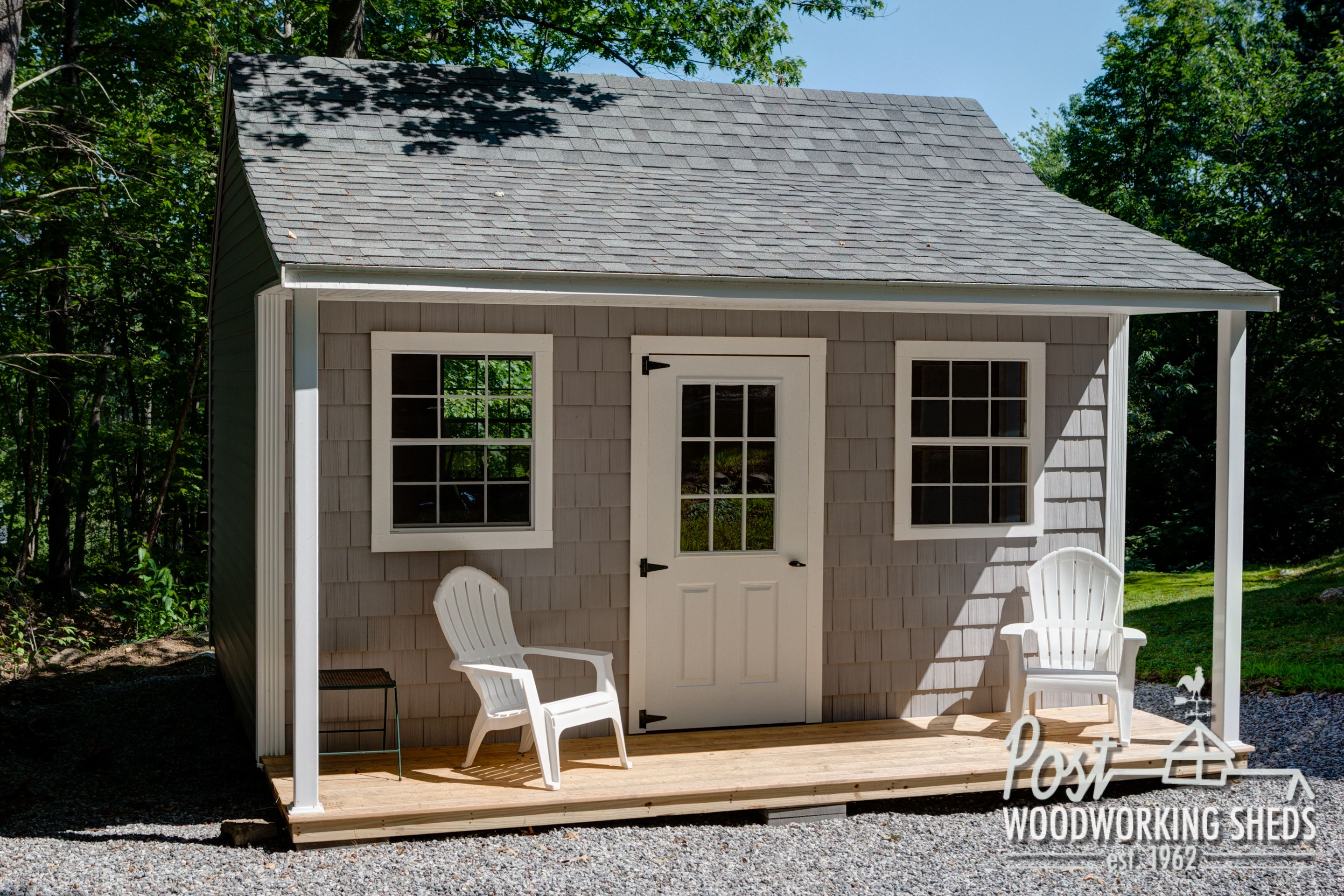Vinyl shake shed with farmers porch post woodworking for Shed dormer house plans