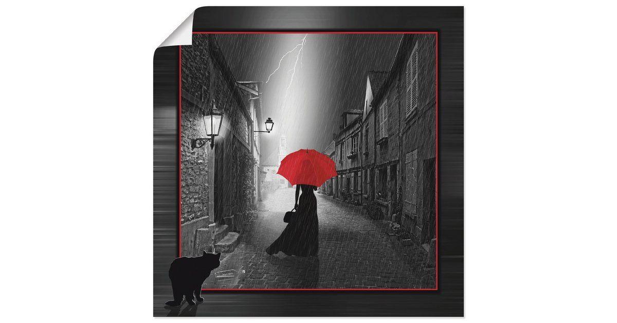 Kunstdruck Poster »Mausopardia: Die Frau mit dem roten Schirm 2«