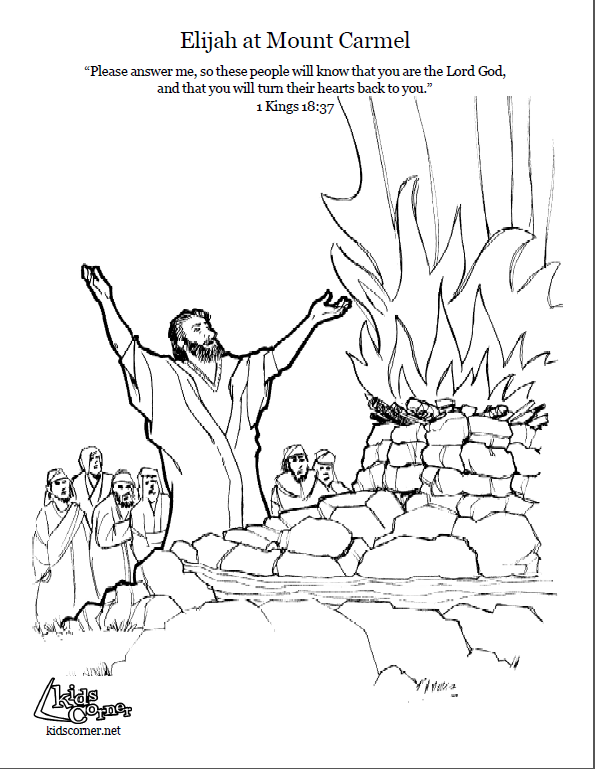 Elijah On Mount Carmel Coloring Page Script And Bible Story Http Kidscorner Reframemedia Sunday School Coloring Pages Bible Coloring Pages Bible Coloring
