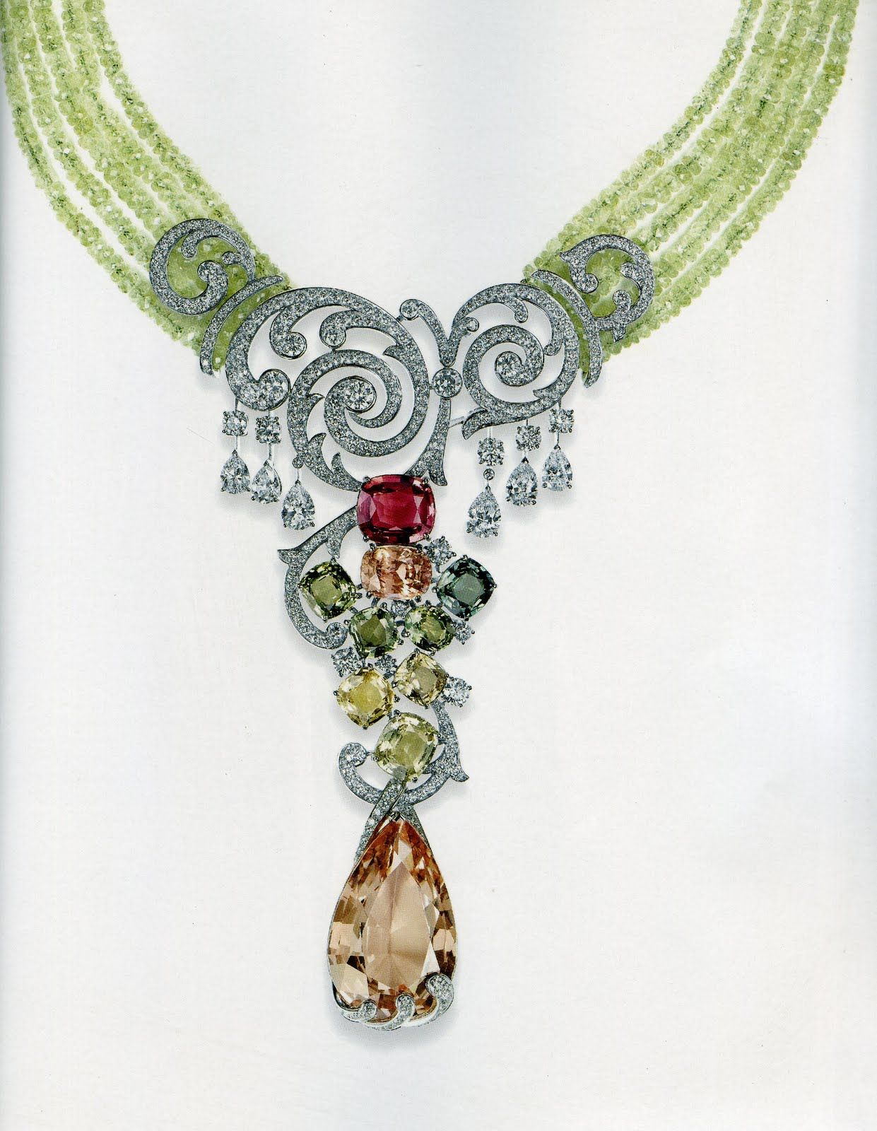 Cartier necklace of morganite pink sister of emerald green