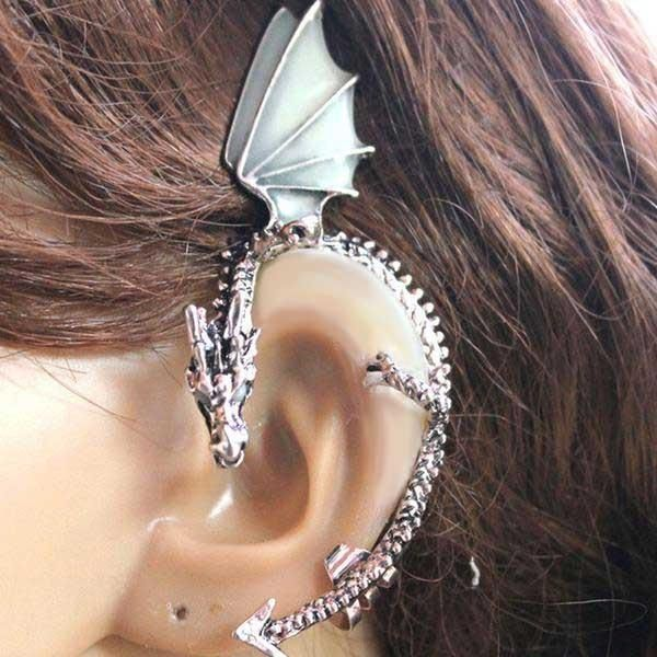 03af2ce7dc2076 Image result for ear cuff. Fanduco Earrings Silver The Whispering Dragon  Glow In The Dark Handcrafted ...