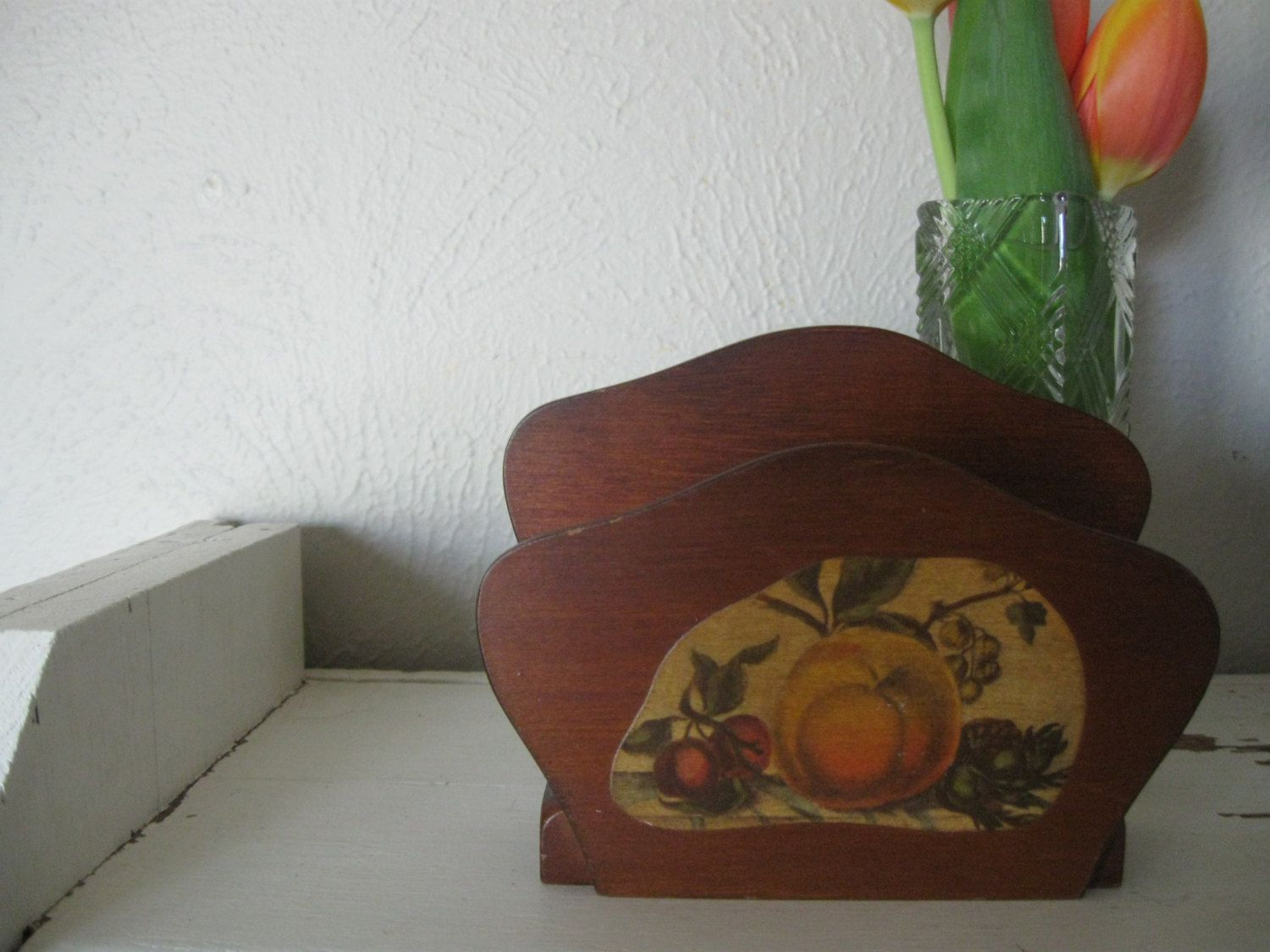 Mid Century Wooden Napkin Holder Fruit Motif on front wood organizer by katietwoshoesvintage on Etsy