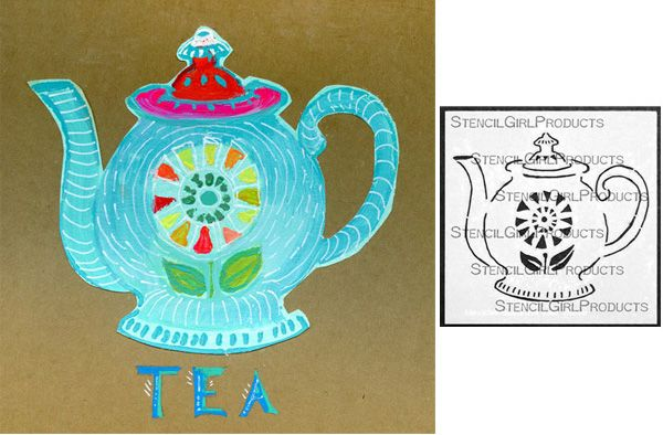 Cathy Nichols is using her new Farmhouse Teapot stencil from StencilGirl in this lovely piece of art!
