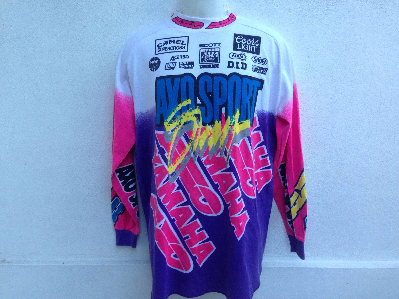 Rare Vintage 90s Yamaha Axo Sport Motocross Longsleeve Axo Yamaha Motocross 1992 Over Print Made In Usa Shirts Moto Logo Yamaha Motocross