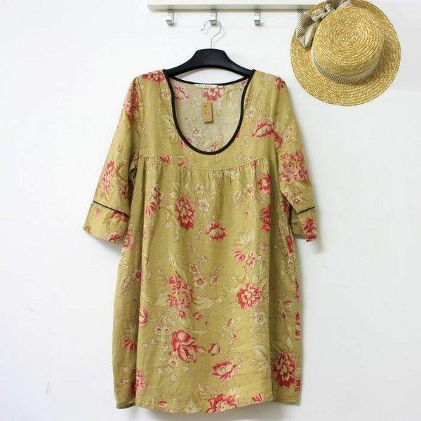 日系森女系 民族风棉麻连衣裙 七分袖 高腰 中国风 水墨画