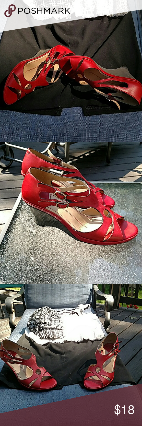 *BOGO* Sexy red wedges In good used condition. These sexy little low wedges with two side buckles will make any outfit POP.... all my items are buy one/get one of equal or lesser value FREE Oh! Shoes Wedges