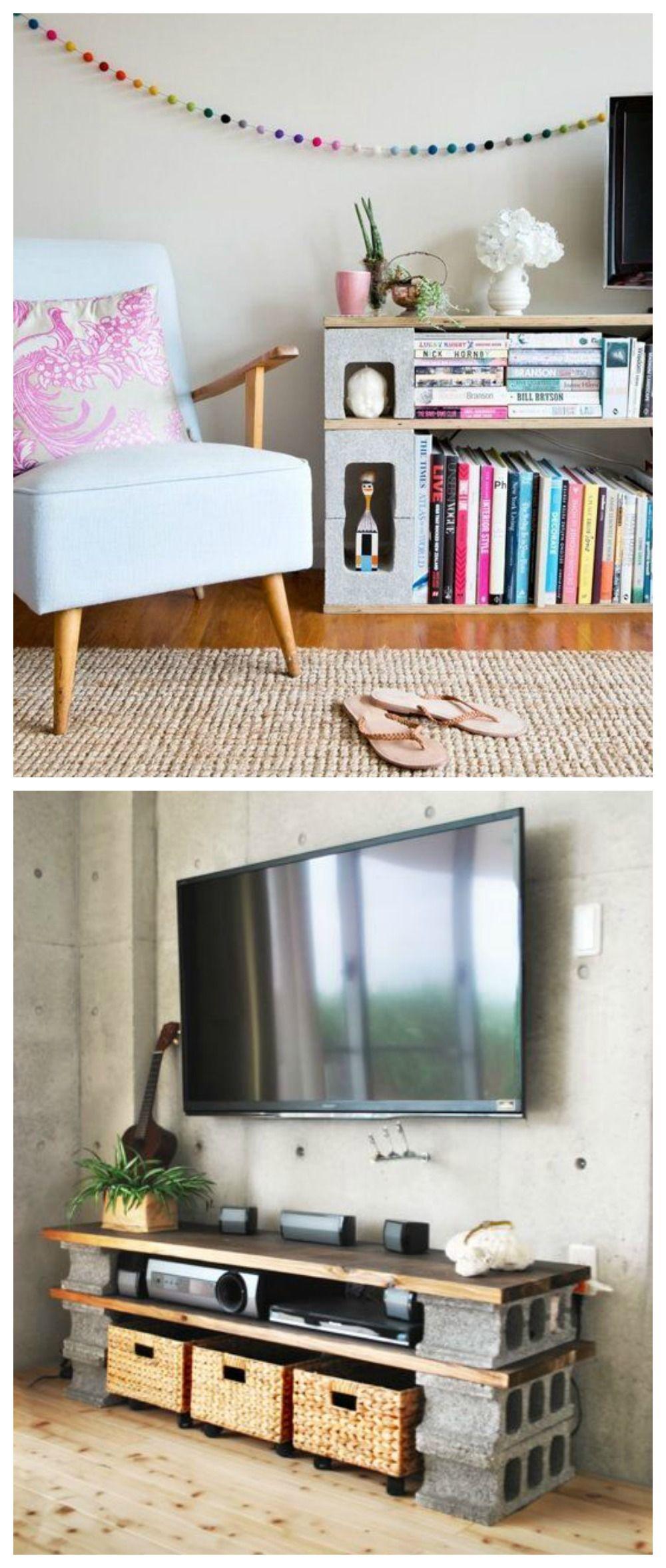 Muebles con bloques de hormigón | Bloques, Decoración y Hogar