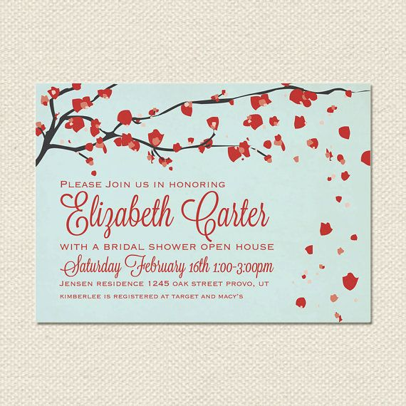 cherry blossom bridal shower invitation teal and red wwwetsycomshop