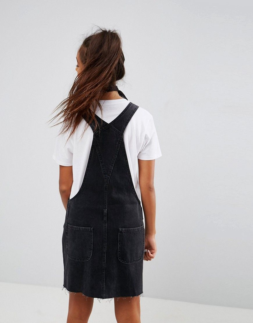 ac607e99127 DESIGN denim overall dress in washed black in 2019
