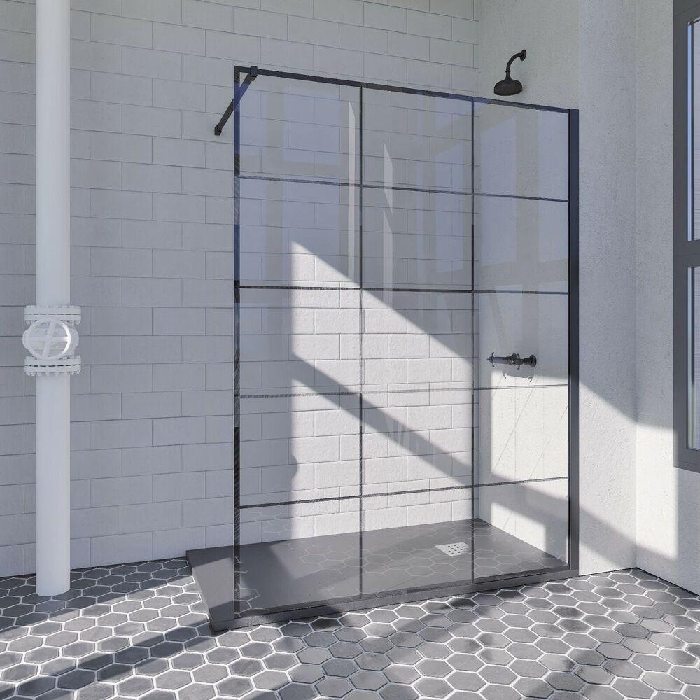 Details Zu Duschabtrennung Duschwand Schwarz Walk In Abtrennung Esg Glas 8 Mm Beschichtung Duschwand Walk In Dusche Duschabtrennung