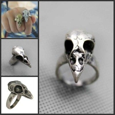 Steampunk Vintage Retro Silver Bird Skull Ring Swallow Crow Silver FREE SHIPPING
