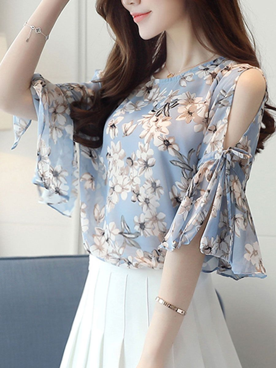 Buy Summer Chiffon Women Open Shoulder Printed Bell Sleeve Half Sleeve  Blouses online with cheap prices and discover fashion Blouses at  Fashionmia.com. b6e79410e84a