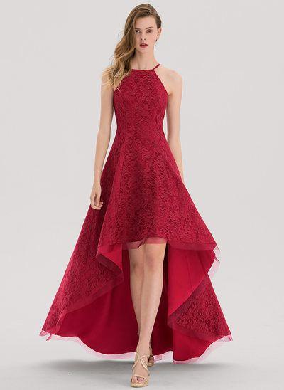 53ca494ba45e A-Line/Princess Square Neckline Asymmetrical Lace Prom Dress ...
