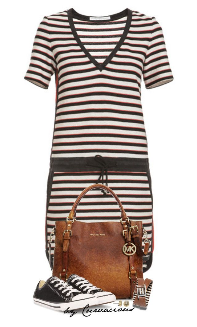 """""""Keepin' It Casual"""" by curvacious ❤ liked on Polyvore featuring Veronica Beard, MICHAEL Michael Kors, Henri Bendel, Converse, Alex and Ani, Spring, casual, stripes, michaelkors and converse"""
