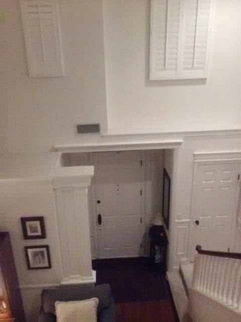 Chair Rail Entryway Part - 38: Entryway Makeover: Added Columns To Form Half-wall, Wainscot, Chair Rail,
