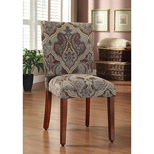 HomePop Blue and Brown Paisley Parson Chairs (Set of 2 ...