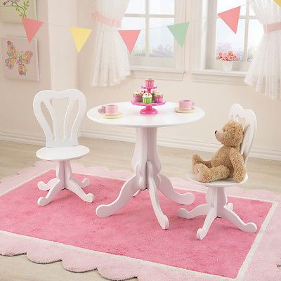 9871eec57ce64 White Girls Kids Drawing Office Desk Table Chair Set Tea Party ...