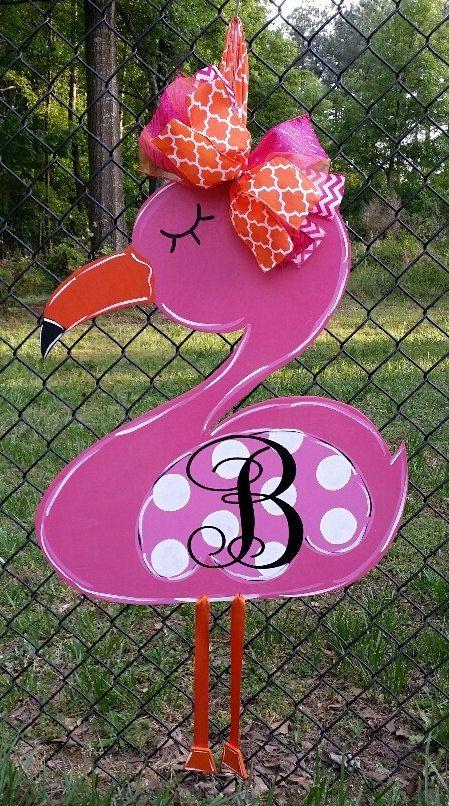 Flamingo Door Decoration Door Hanger Monogrammed Door Hanger Spring Door Hanger Door Decorations Flamingo Craft Summer Door Hanger