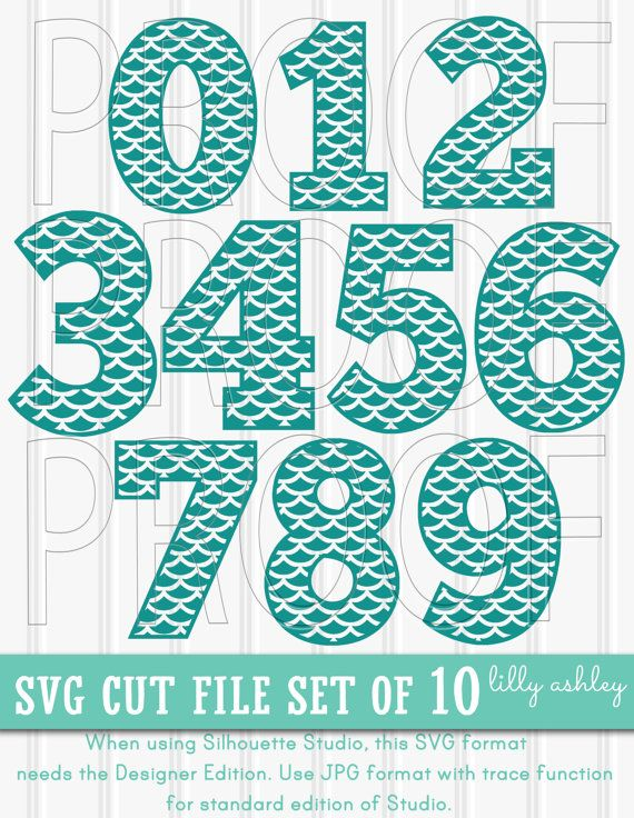 Mermaid Print SVG number set of cut files great for mermaid birthday theme! Use for birthday shirt, cupcake toppers, banner, etc!