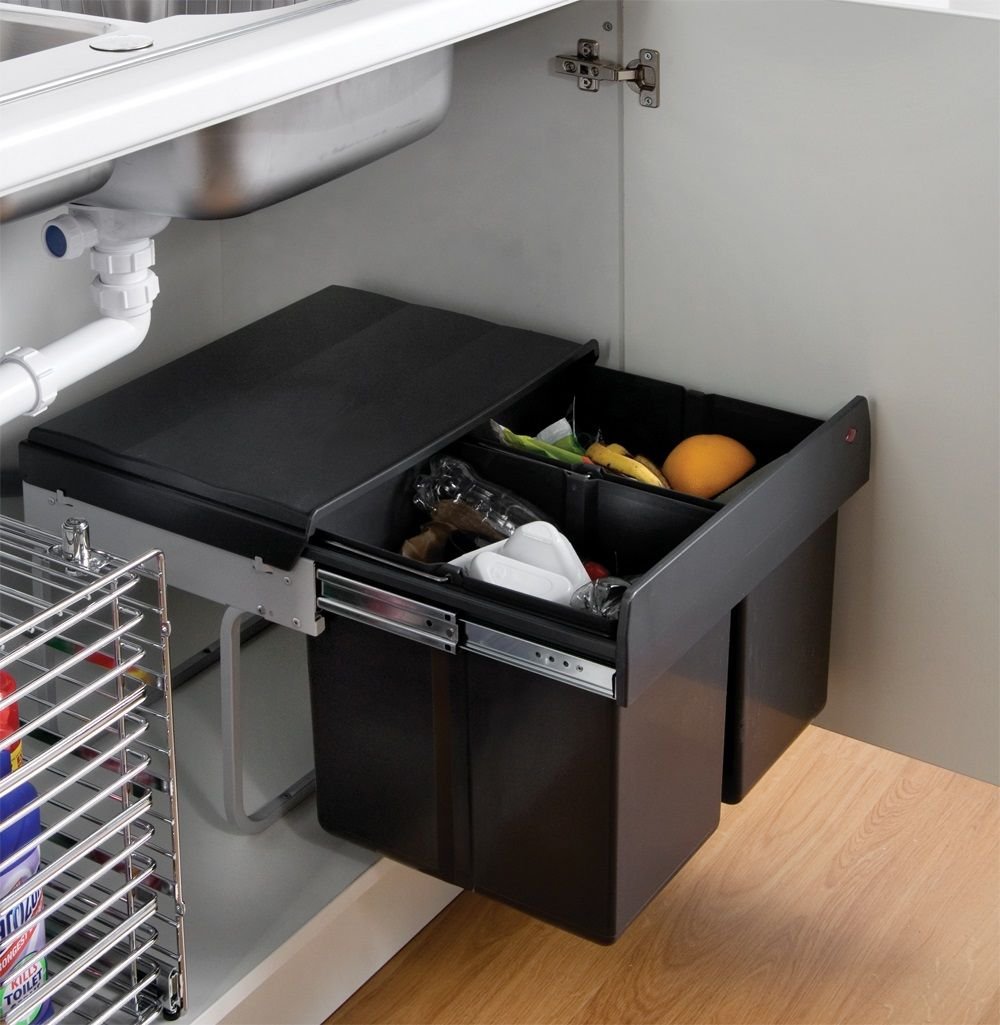 The wesco shorty internal waste bin with two bin Kitchen under cabinet storage ideas