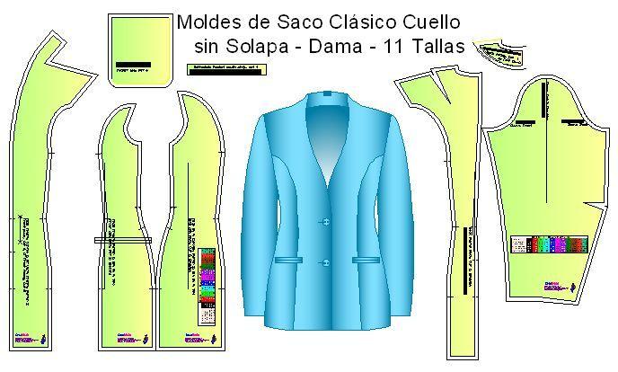 Moldes y diseño de ropa | sacos | Moldes de ropa, Saco de