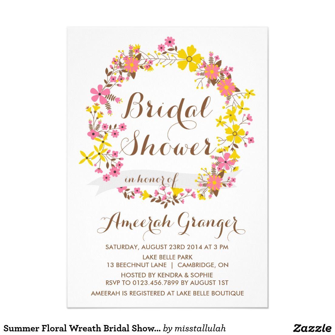 Summer Floral Wreath Bridal Shower Invitation