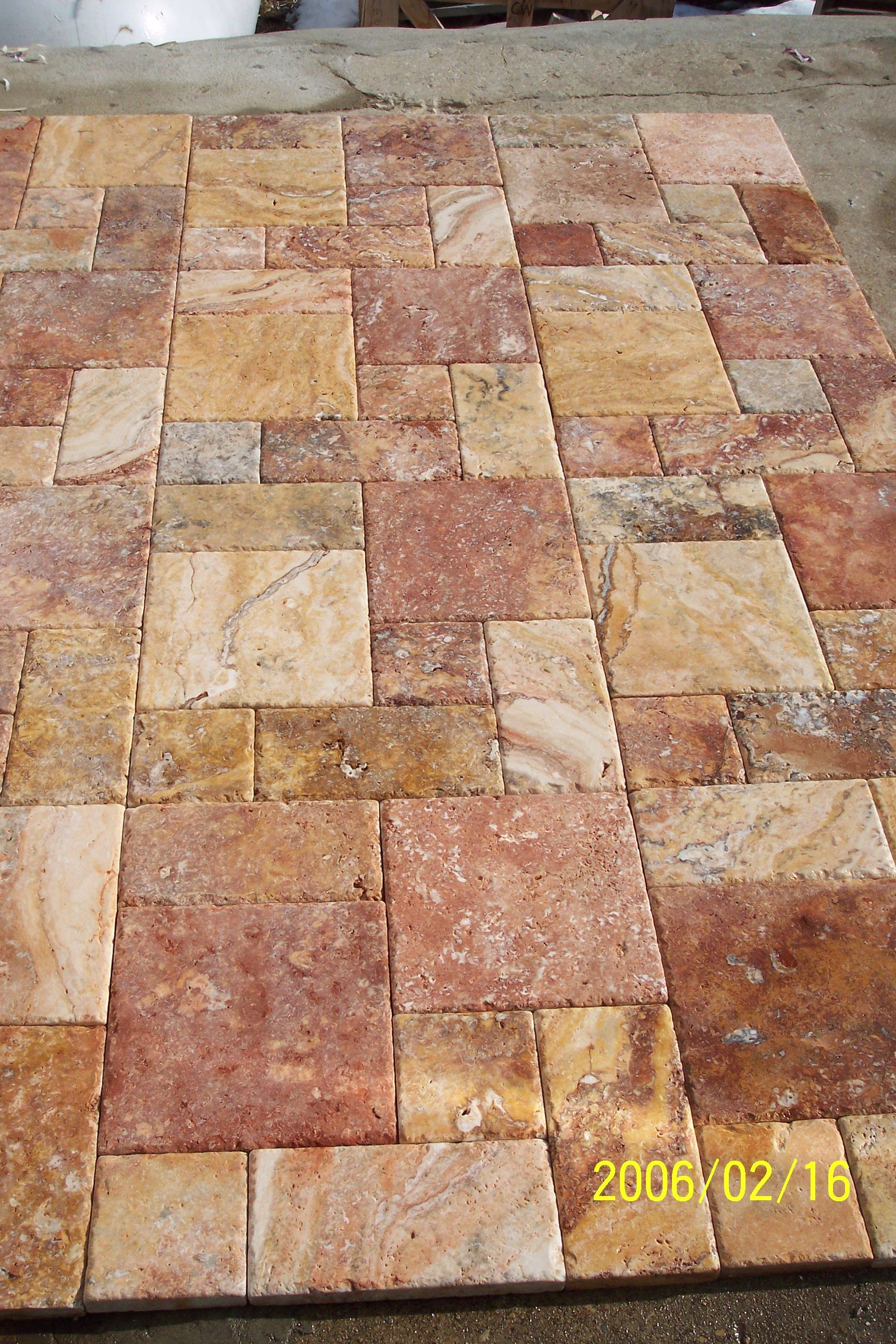 Peach Travertine Pavers Roman Pattern Gothicstone In