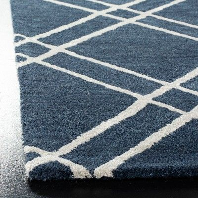 6 X6 Crosshatch Tufted Square Area Rug Navy Silver Safavieh Square Area Rugs Area Rugs