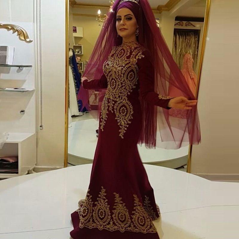 Burgundy retro gold lace applique muslim wedding dress