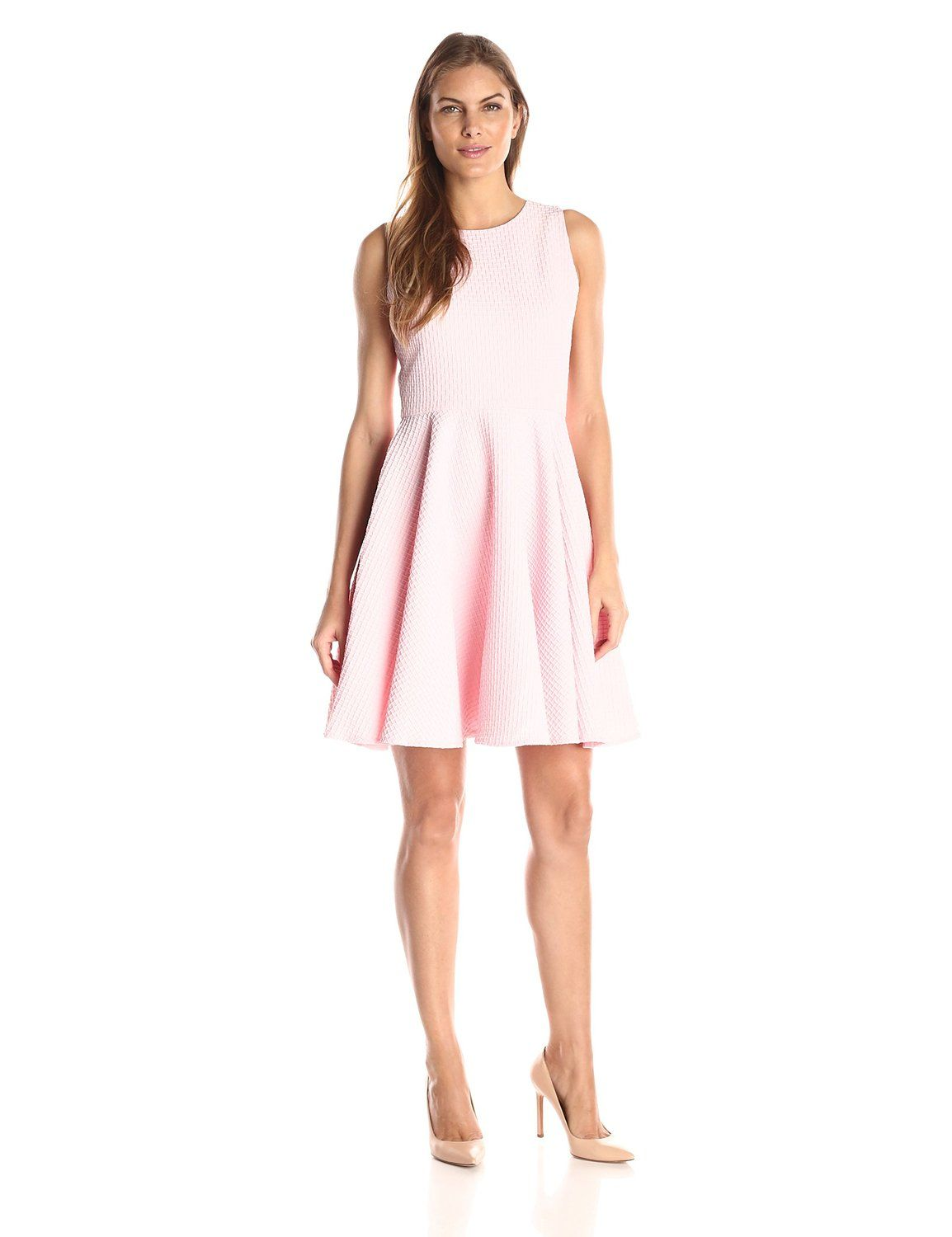 193f7a301fdac Gabby Skye Women s Solid Jacquard Fit and Flare Dress at Amazon Women s  Clothing store