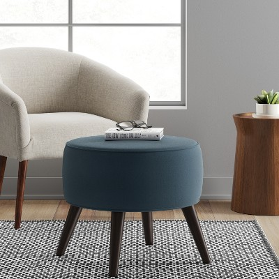 Swell Riverplace Round Mid Century Ottoman Blue Project 62 Spiritservingveterans Wood Chair Design Ideas Spiritservingveteransorg
