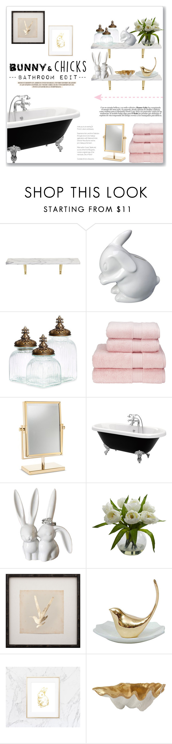 """""""Easter Update: Bathroom Edit"""" by lauren-a-j-reid ❤ liked on Polyvore featuring interior, interiors, interior design, home, home decor, interior decorating, CB2, Dot & Bo, Nearly Natural and Zara"""
