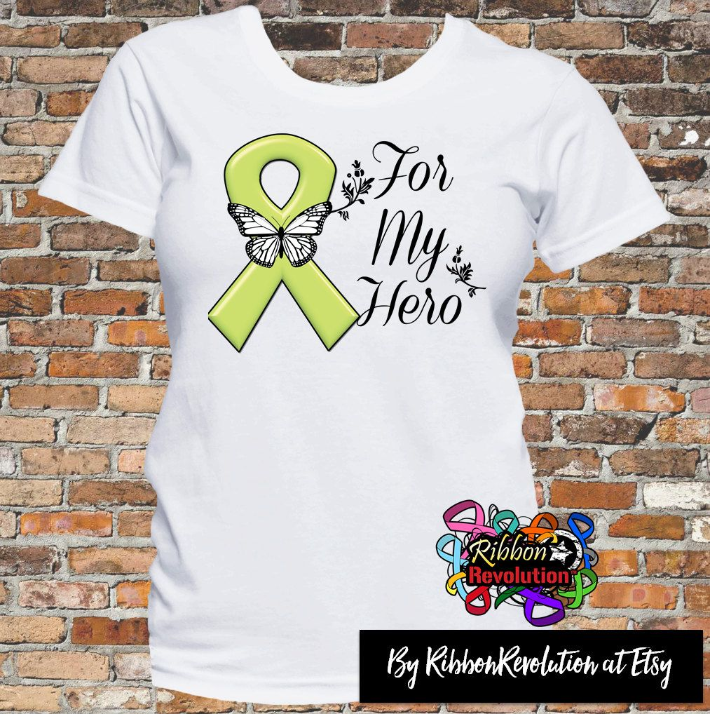 4b4d39ee For My Hero Lymphoma shirts featuring an original ribbon with floral  accents and a butterfly. This unique lime green ribbon design also  signifies advocacy ...