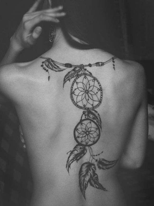 Tatouage De Femme Tatouage Attrape Reve Noir Et Gris Sur Dos