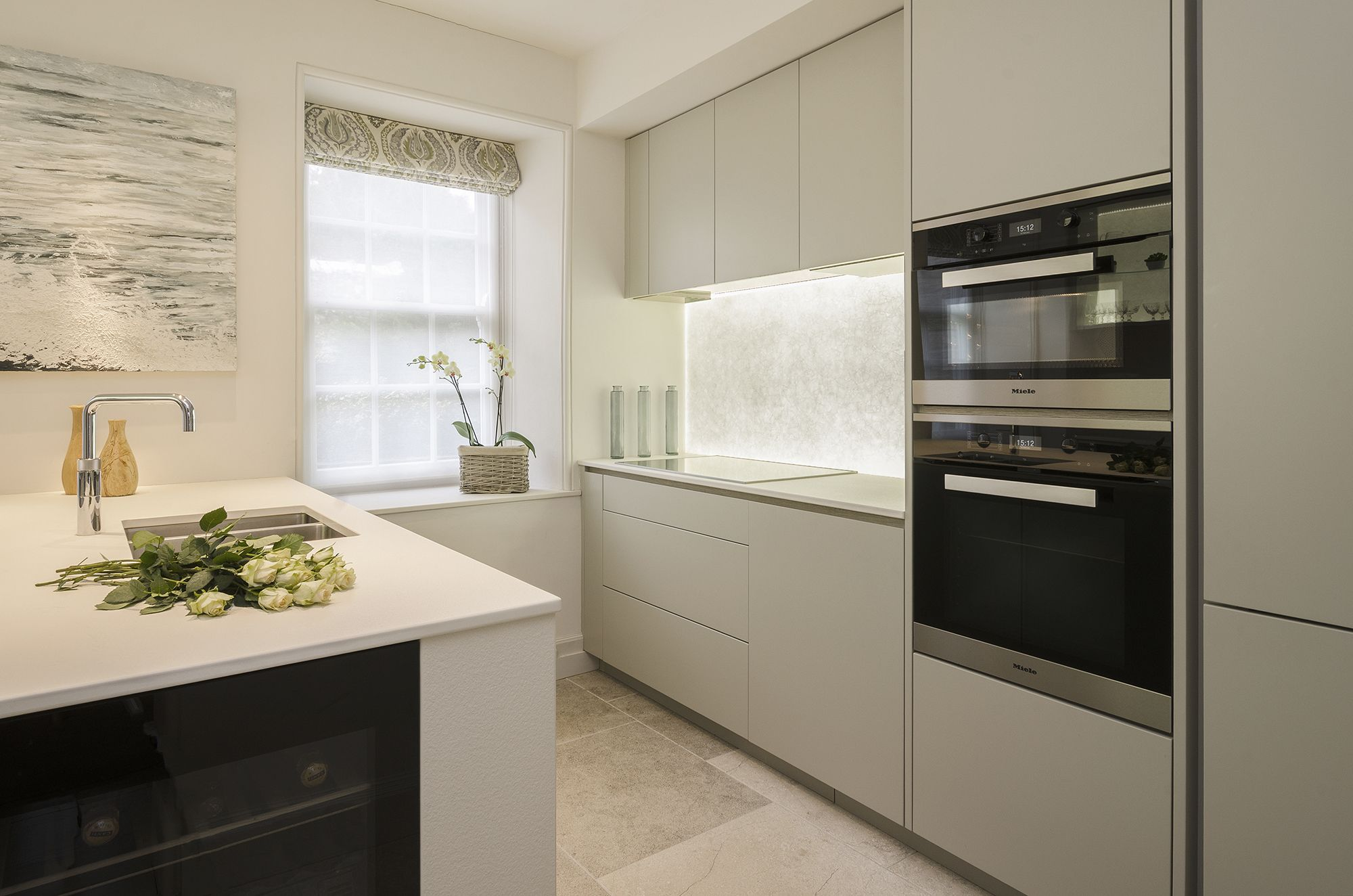 Satin Lacquered Furniture, Lapitec Worktops, Miele Appliances And Back Lit  Recycled Glass Splash