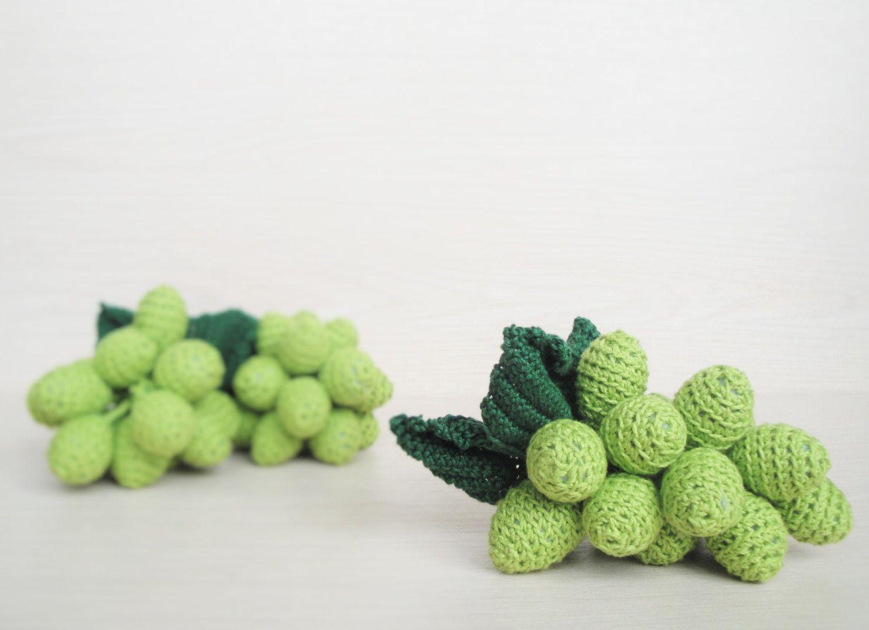 Green Crochet Grapes Kitchen Decor Amigurumi food Crochet fruits ...