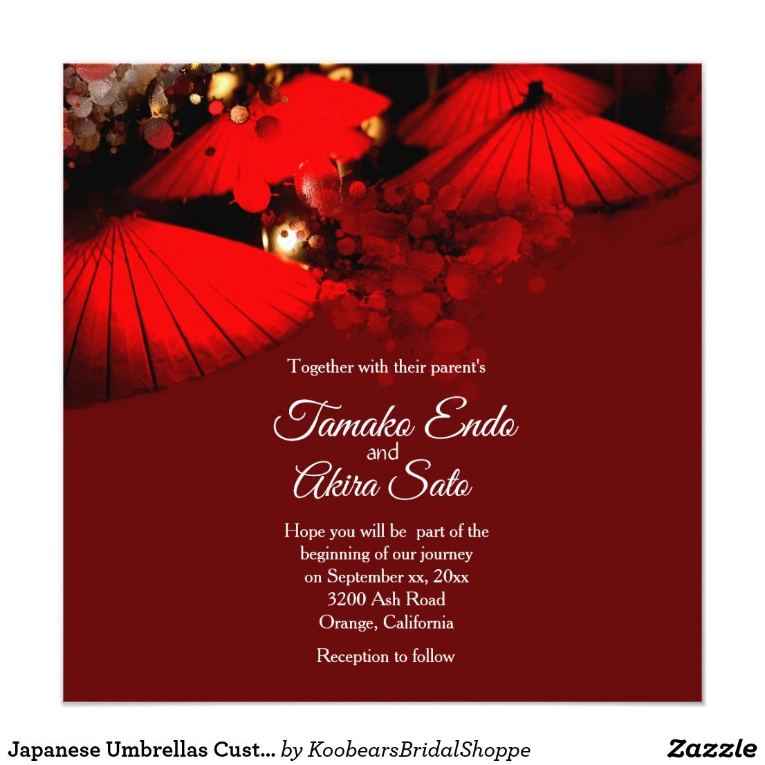 Japanese Umbrellas Custom Wedding Invitation | Wedding Invitations ...