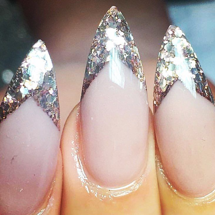 Pin By Alana Roper On Nails French Stiletto Nails Nails