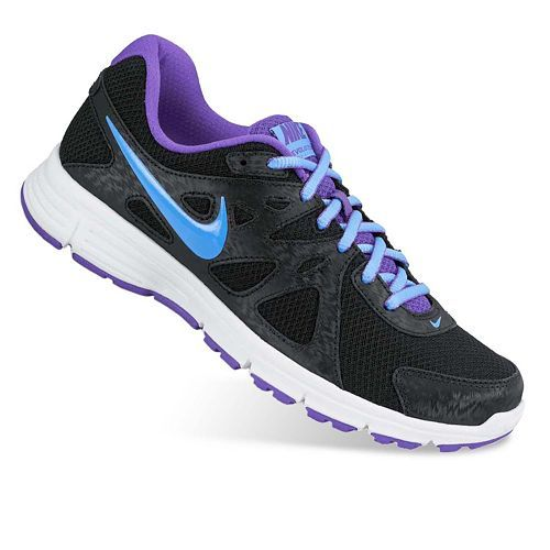 nike revolution 2 running shoes black and purple