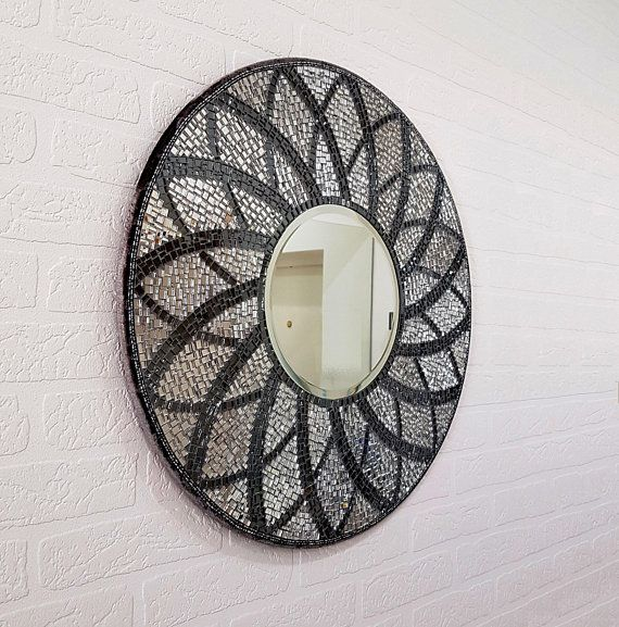 Decorative Mirror 24 Large Round Mirror Silver Black